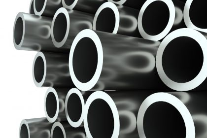 Stack of steel pipes. 3D Illustration. Industrial background